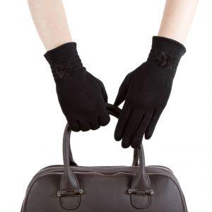 Перчатки женские 28Ш_35024_1309С; шерсть; черный (Размер S)