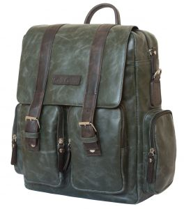 Кожаный рюкзак-сумка Carlo Gattini Fiorentino green/brown